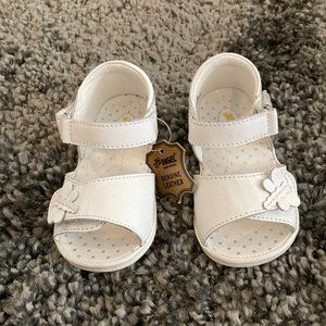 Girls Angel White Leather Sandals